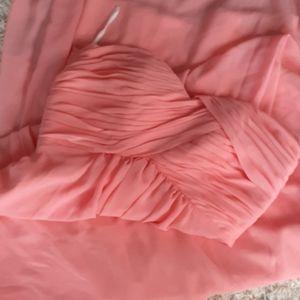 🔥3/30$Bridesmaid coral somon long strapless dress